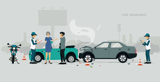 CAR INSURANCE. Employees of car insurance companies are investigating information about road accidents royalty free illustration