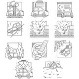 Car insurance flat line icons Royalty Free Stock Photography