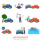 Car insurance flat vector icon pack: accident, service, loss. Flat style modern car insurance icon pack set. Accident damage loss injury harm defect evacuator Stock Photography
