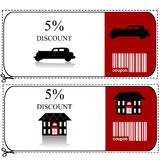 Car insurance and house insurance gift voucher Royalty Free Stock Images