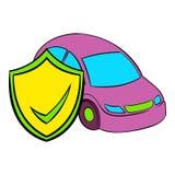 Car insurance icon cartoon. Car insurance icon in cartoon style  vector illustration Royalty Free Stock Image