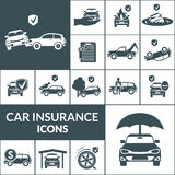Car Insurance Icons Black Royalty Free Stock Images