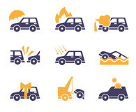 Car Insurance Icons in Flat Style Royalty Free Stock Photo