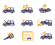 Car Insurance Icons in Flat Style Stock Image