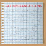 Car insurance icons on graph book Royalty Free Stock Photography