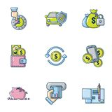 Car insurance icons set, cartoon style vector illustration