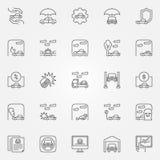 Car insurance icons set Royalty Free Stock Photos