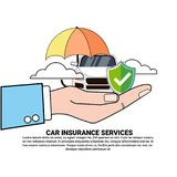 Car Insurance Safety Protection Concept Hand Holding Vehicle Under Umbrella Icon. Vector Illustration Stock Images