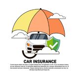Car Insurance Safety Protection Concept With Vehicle Under Umbrella Icon. Vector Illustration Stock Image