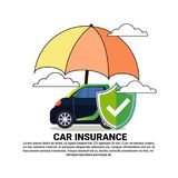 Car Insurance Service Concept With Hybrid Vehicle Under Umbrella Icon Stock Images