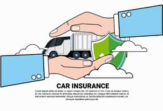 Car Insurance Service Icon With Hand Holding Truck Lorry Concept. Vector Illustration Royalty Free Stock Images