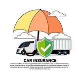 Car Insurance Service Icon With Truck Lorry Under Umbrella Concept Royalty Free Stock Image