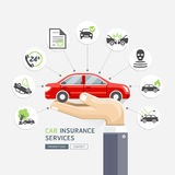 Car insurance services. Business hands holding red car. Vector Illustrations Royalty Free Stock Photography