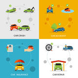 Car Insurance Set. Car insurance design concept set with crash and repair flat icons isolated vector illustration vector illustration