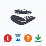 Car insurance sign. Hand holds transport Royalty Free Stock Photo