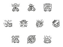 Car insurance simple line icons set. Different types of car topics including insurance, flat line style icons collection. Web design elements for business Stock Photos