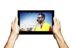 Car insurance web template in a tablet screen. Royalty Free Stock Photos