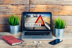 Car insurance website in a laptop screen. Stock Images