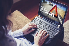 Car insurance website in a laptop screen. Royalty Free Stock Photography