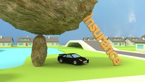 Car insurence concept with sports car under a rock Royalty Free Stock Image