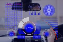 Car interface against person in the car Royalty Free Stock Photo