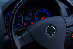 Car Interior. Interior of a car with lights on stock photos