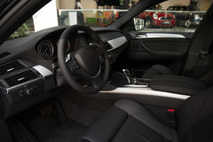 Car interior. Interior of a luxury car with black seats Stock Image