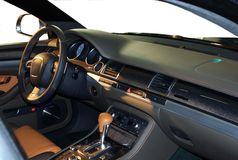 Car interior. In the rays of evening sun Stock Image