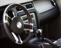 Car Interior. Interior of a modern car with a gray dashboard Royalty Free Stock Photo