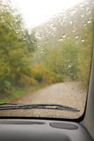Car interior. With rain drops on windshield Stock Photography