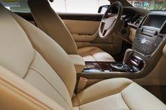 Car interior. The beautiful black interior of New Car stock photos
