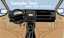 Car interior. Interior of the car with stick shift and leather seats Royalty Free Stock Images