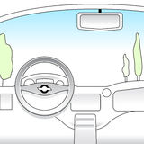 Car interior. Illustrated car interior for learning to drive and automotive projects Stock Images