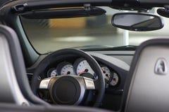 Car interior. And controls of sports car