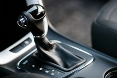 Car interior. Automatic transmission gear shift. Auto concept royalty free stock photography