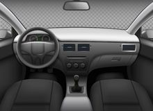 Free Car Interior. Automobile Realistic Salon Info Panel Dashboard Speedometer Leather Seat Mirror Back View Vector Template Stock Image - 163075271