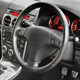 Car interior. Black leather interior. royalty free stock photo