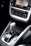 Car Interior detail. Car panel with shift gear stock photo