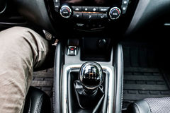 Car interior detail, the gear shift lever Royalty Free Stock Images