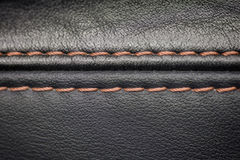 Car interior detail. Leather background with stich. Macro Stock Photos