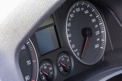 Car interior details. Modern car interior details of dashboard, speedometer, oil control etc Royalty Free Stock Photo