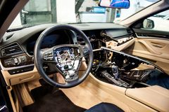 Car interior disassembled for general repair stock images