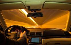 Car interior on driving. Stock Photo