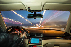 Car interior on driving. Royalty Free Stock Image