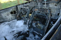 Car interior after fire Stock Photography