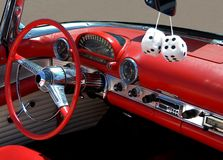 Car interior fuzzy dice Royalty Free Stock Image