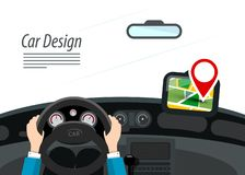 Car Interior with Hands on Steering Wheel. And Red Pin on GPS Navigation vector illustration