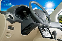 Car interior / landscape view Stock Photo