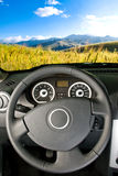 Car interior / landscape view Royalty Free Stock Photos