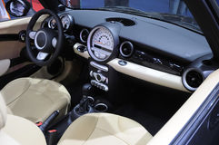 Car interior, mini cooper s. Interior of new luxury sports car Royalty Free Stock Photography